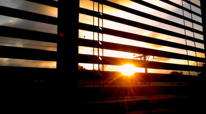 ventanas, atardecer, sol,