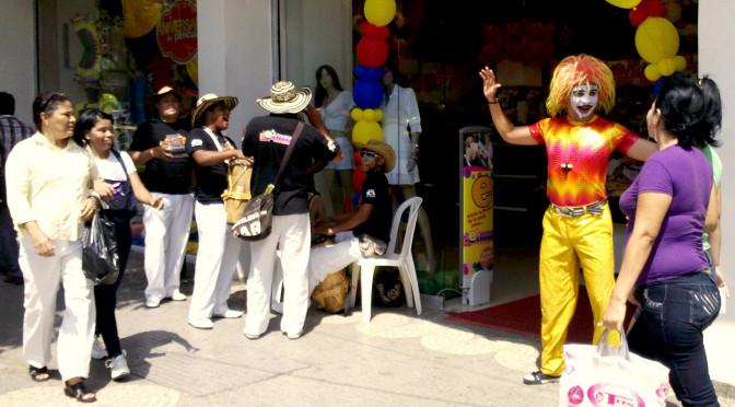 Payaso, animador, centro, Barranquilla, pregonero